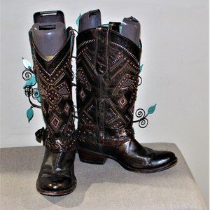 LADIES CORRAL DISTRESSED LEATHER BOOTS - SIZE 8M